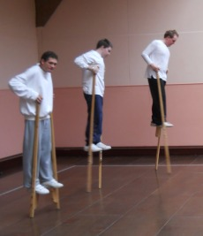 stilt walking develops balance